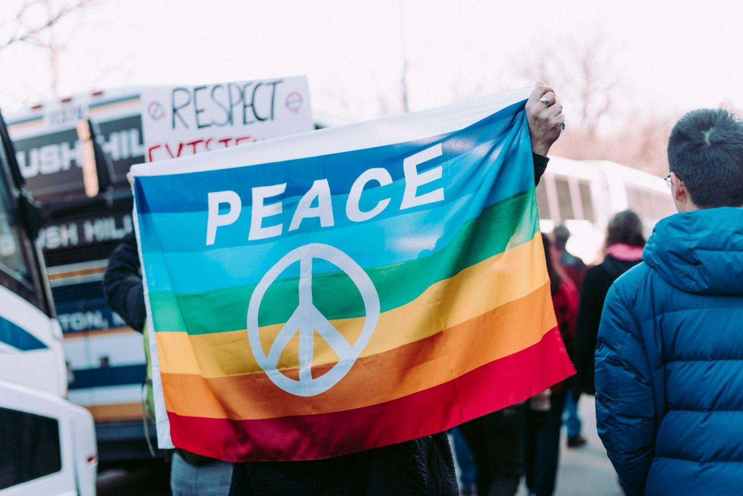 peace sign protest womens march